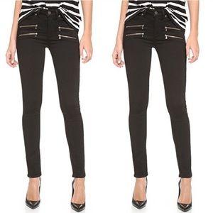 Paige Black Skinny Edgemont Jeans Jeggings Zipper